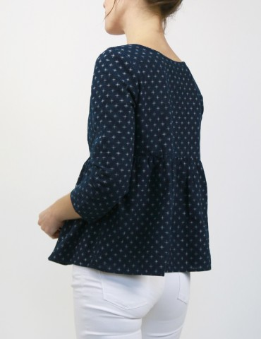 Eugenie blouse made from a navy blue fabric, 3/4 back view
