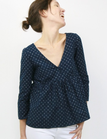 Eugenie blouse made from a navy blue fabric, front view