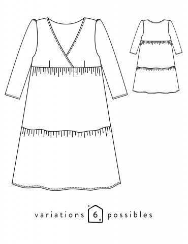 Technical drawings Eugenie dress, front and back view