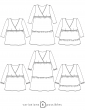 sewing pattern Technical drawings Eugenie dress and blouse, 6 possible variations