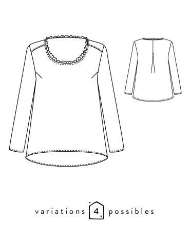 Technical drawings Boheme blouse, front and back view
