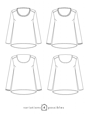 Technical drawings Boheme blouse, 4 possible variations