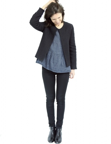 Claudie jacket in black woolen double gauze, with no collar, full-lenght view