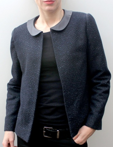 Claudie jacket in natte fabric in shades of blue, with a brown leather Peter Pan collar, front view American shot