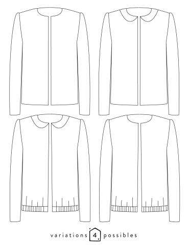 Technical drawings Claudie jacket, 4 possible variations
