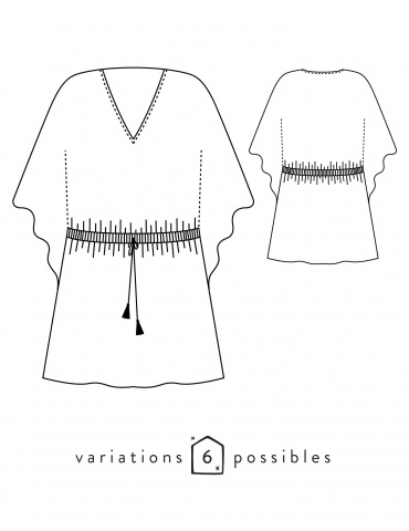 Technical drawings Helios dress, front and back view