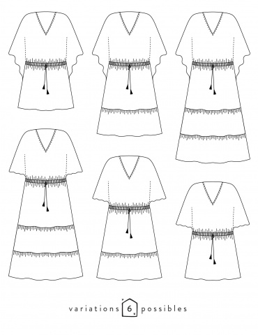 Technical drawings Helios dress, 6 possible variations