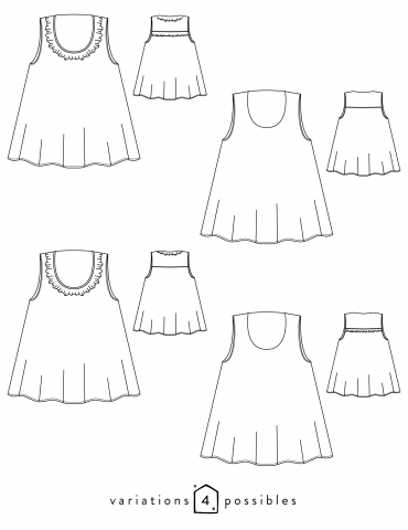 Technical drawings Alize tank top, 4 possible variations