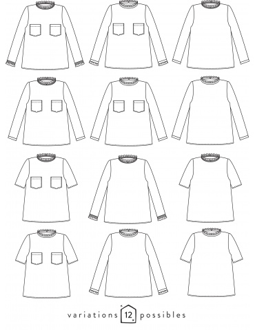 Technical drawings Passion blouse, front and back view