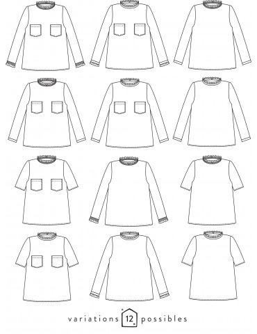 Technical drawings Passion blouse, 12 possible variations