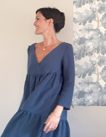 Eugenie pattern dress version worn by famous instagrammer Eugéniiiiiiie, in a blue fabric